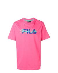 T-shirt à col rond imprimé fuchsia Fila