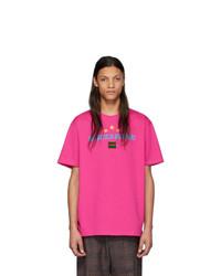 T-shirt à col rond imprimé fuchsia Gucci