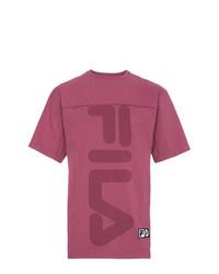 T-shirt à col rond imprimé fuchsia Liam Hodges