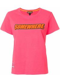 T-shirt à col rond imprimé fuchsia Marc Jacobs