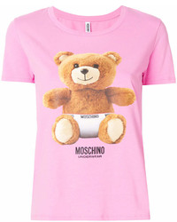 T-shirt à col rond imprimé fuchsia Moschino
