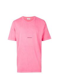 T-shirt à col rond imprimé fuchsia Saint Laurent