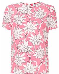 T-shirt à col rond imprimé fuchsia Valentino