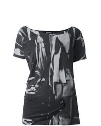 T-shirt à col rond imprimé gris foncé Ann Demeulemeester