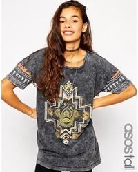 T-shirt à col rond imprimé gris foncé Asos