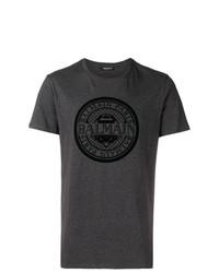 T-shirt à col rond imprimé gris foncé Balmain