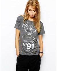 T-shirt à col rond imprimé gris foncé Criminal Damage
