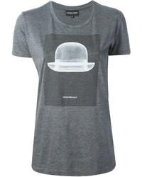 T-shirt à col rond imprimé gris foncé Emporio Armani