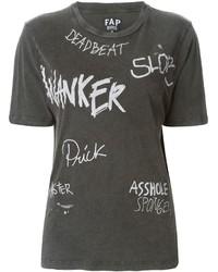 T-shirt à col rond imprimé gris foncé Filles a papa