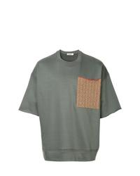 T-shirt à col rond imprimé gris foncé Jil Sander