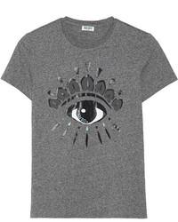 T-shirt à col rond imprimé gris foncé Kenzo