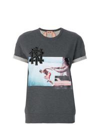 T-shirt à col rond imprimé gris foncé N°21