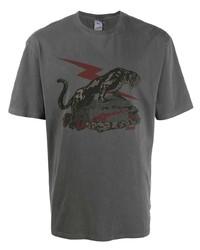 T-shirt à col rond imprimé gris foncé Puma