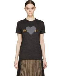 T-shirt à col rond imprimé gris foncé Rodarte