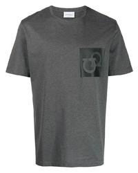 T-shirt à col rond imprimé gris foncé Salvatore Ferragamo