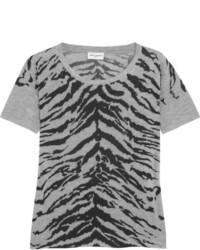 T-shirt à col rond imprimé gris foncé
