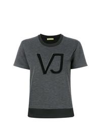 T-shirt à col rond imprimé gris foncé Versace Jeans