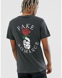T-shirt à col rond imprimé gris foncé YOURTURN
