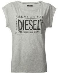 T-shirt à col rond imprimé gris