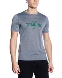 T-shirt à col rond imprimé gris Asics