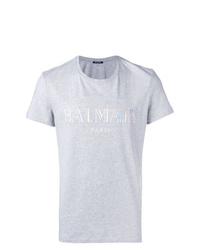 T-shirt à col rond imprimé gris Balmain