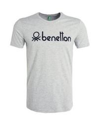 T-shirt à col rond imprimé gris Benetton