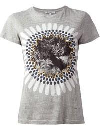 T-shirt à col rond imprimé gris Carven