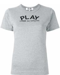 T-shirt à col rond imprimé gris Comme des Garcons