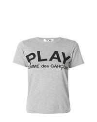 T-shirt à col rond imprimé gris Comme Des Garcons Play
