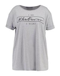 T-shirt à col rond imprimé gris Dorothy Perkins