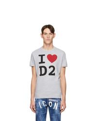 T-shirt à col rond imprimé gris DSQUARED2