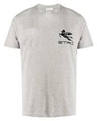 T-shirt à col rond imprimé gris Etro