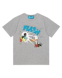 T-shirt à col rond imprimé gris Gucci