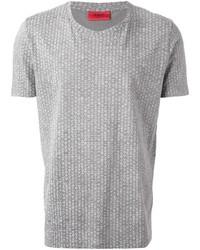 T-shirt à col rond imprimé gris Hugo Boss