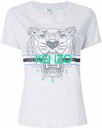 T-shirt à col rond imprimé gris Kenzo