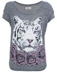 T-shirt à col rond imprimé gris Lauren Moshi