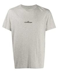 T-shirt à col rond imprimé gris Maison Margiela