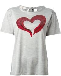 T-shirt à col rond imprimé gris Marc Jacobs