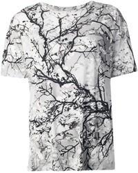 T-shirt à col rond imprimé gris Mary Katrantzou