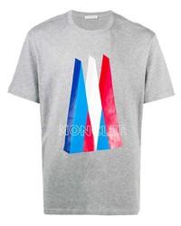 T-shirt à col rond imprimé gris Moncler