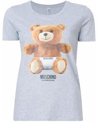 T-shirt à col rond imprimé gris Moschino