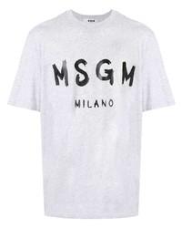 T-shirt à col rond imprimé gris MSGM