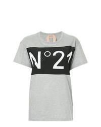 T-shirt à col rond imprimé gris N°21
