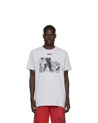 T-shirt à col rond imprimé gris Off-White
