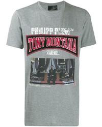 T-shirt à col rond imprimé gris Philipp Plein