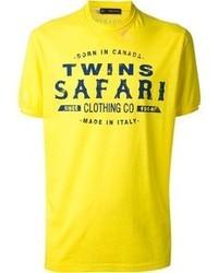 T-shirt à col rond imprimé jaune DSquared