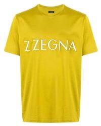 T-shirt à col rond imprimé jaune Ermenegildo Zegna