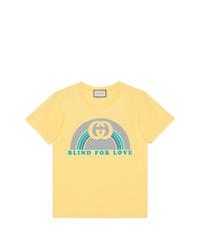T-shirt à col rond imprimé jaune Gucci