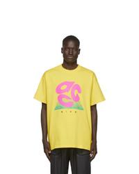 T-shirt à col rond imprimé jaune Nike