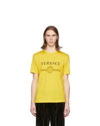 T-shirt à col rond imprimé jaune Versace